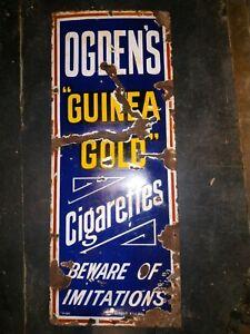 1930 Rare Ogden's Guinea Gold Cigarettes Vintage Old Porcelain Enamel Sign Board