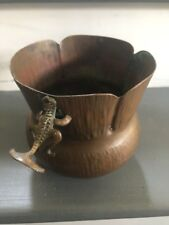 Antique Copper Container w/ Brass Crocodile Handles, Very Rare and Old Beautiful
