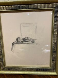 Signed Alberto Giacometti 1950 pencil drawing Bowl of Fruit & Pitcher 15.5x13.5""