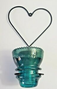 Hemingray 42 Aqua Glass Insulator Candle Holder Black Steel Heart Shaped Frame
