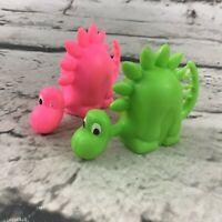 Dinosaur PVC Finger Puppet Figures Lot Of 2 Neon Pink And Green