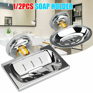 Soap Dish Basket Wall Mounted Suction Holder Bathroom Shower Storage Tray Plate