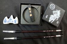 CHINESE 2S GOAT BRUSH INK STICK STONE DISH BOX STAND CALLIGRAPHY JAPANESE CRAFT