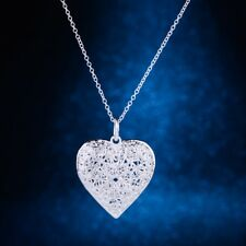 Silver 925 Necklace Sand Flower Heart Twist Snake Rope Pendant Chain 20 Inches