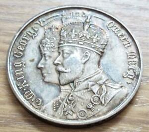 King George V & Queen Mary 1912 Visit to Slaithwaite Antique H/M Silver Medal