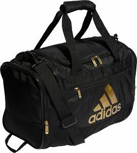 ADIDAS DEFENDER Small DUFFEL Gym Bag Soccer Duffle Black/Gold crossfit fitness