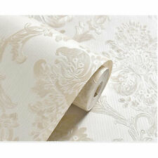 High Quality White Cream Ivory Damask Glitter Wallpaper 3d Pattern 53cm X 10m