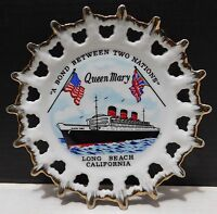 QUEEN MARY Souvenir Plate, Reticulated Edge, Long Beach California Made in Japan