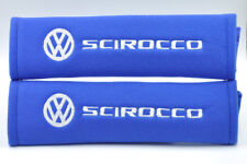 Blue Embroidery Seat Belt Cover Shoulder Pads Pair for Volkswagen VW Scirocco