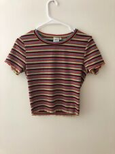 Tilly's Orange Blue Yellow White Crop Top Lettuce Edge Short Sleeve Small