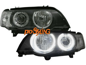 Scheinwerfer BMW X5 E53 LED Angel Eyes schwarz heller als CCFL Ringe 00-03  (DE)
