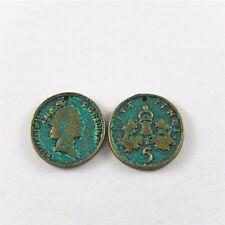20*20mm Runde Grün Bronze Legierungs Münzen Form Anhänger Charme Schmunck 56X