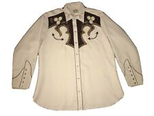 Vtg  H Bar C California Ranchwear Western Smile Embroidered Rockabilly SHIRT