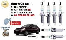 FOR INFINITI EX37 3.7 2009--> SERVICE OIL AIR POLLEN FILTER KIT & 6X SPARK PLUGS