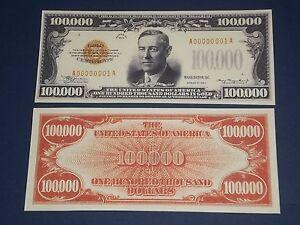 NICE CRISP UNCIRCULATED 1934 $100,000 GOLD CERTIFICATE COPY NOTE!