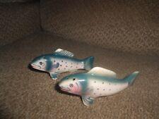 VINTAGE FISH SALT & PEPPER SHAKER-CORK STOPPERS-ADORABLE!+