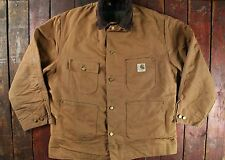 VTG 70s CARHARTT BROWN DUCK CANVAS BLANKET LINED CHORE WORK JACKET USA 44