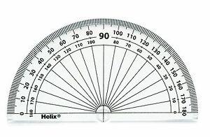 Helix 10cm - 180 Degree Clear Protractor Reverse Scale Exam Student School Item