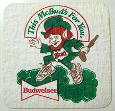 BUDWEISER McBUD's Beer COASTER Mat Irish Item, Anheuser-Busch, St Louis MISSOURI