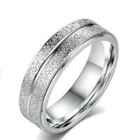 Women Silver Stainless Steel Titanium Wedding Engagement Men Band Ring Size 6-13