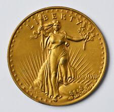 XXL Medaille Aluminium vergoldet 72 g USA 20 Liberty Dollars 1907 Dm 7,7 cm
