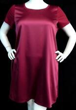$60 Spense berry pink satiny panel round neck women's plus size dress 1X