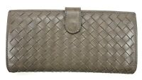 Bottega Veneta Grey Intrecciato Long Wallet Womens Used