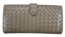 Bottega Veneta Grey Intrecciato Long Wallet Womens Used