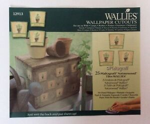 Wallies Wallpaper Cutouts 25 x Pfaltzgraff Naturewood Tiles Kitchen Decoupage