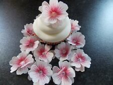 12 x 3D Edible Pink and White flowers wafer/rice paper cake/cupcake toppers