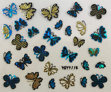 Nail Art 3D Decal Stickers Vibrant Blue & Gold Butterflies w/ Dots YGYY105