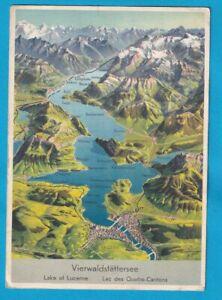 Original Postcard MAP Vierwaldstattersee LAKE LUCERNE
