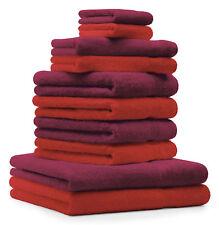 Betz lot de 10 serviettes Classic: rouge & rouge foncé, 100% coton
