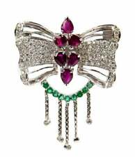 Ruby and emerald diamond butterfly brooch/pendant