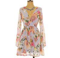 Love Fire Christine Juniors Dress XS S M L Chiffon Lace Gray Floral NEW B31