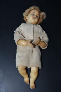 Poured Wax Doll glass eyes Jesus child c 1850