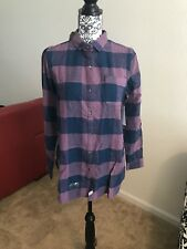 WOOLRICH Oxbow Bend Tunic Blue Purple Plaid Long Button Up Sz S NWT $65