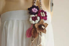 Taupe Crochet Scarf-Lariat Necklace-Purple,Ivory,Pink,Brown Scarf-Hippie Scarf