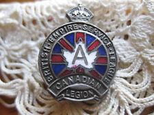 Vintage WW2 BRITISH EMPIRE SERVICE LEAGUE ENAMEL PIN MEDAL CANADIAN LEGION