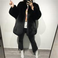 Top Quality Women's Full Pelt Natural Real (Vulpes)Fox Fur Coat Overcoat Gifts