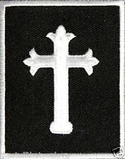 "(C48) JESUS CROSS 2.25"" x 2.75"" iron on patch (2237) Biker Vest Christian"