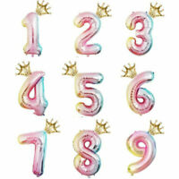 """32"""" Number 0-9 Foil Helium Balloons + 16"""" Crown Gradient Birthday Party Decor Sy"""