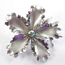 Brooch Pin - Big Flower - Scalloped Edges - AB Rhinestone - Silver Tone