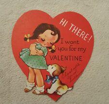 Vintage Die Cut Valentine Greeting Card Little girl w puppy dog A-Meri Card