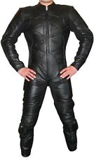 """CHAOS"" 1-piece Black Leather Biker Motorcycle Suit - All sizes!"