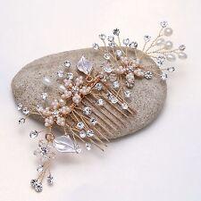 Fashion Rose Gold Rhinestone Faux Pearl Flower Leaf Wedding Bridal Hair Comb