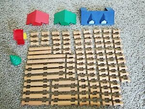 Vintage Lincoln Logs Lot Of 229 Pieces- 3 Roofs, 224 logs, One Tree, and a Cart