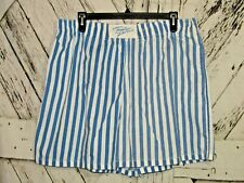 Vintage Tropic Fever Blue & White Striped Elastic Waist Shorts With Pocket Sz 38