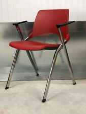 BRAND NEW DESIGNER RED PLASTIC SEAT/CHROMED FRAME/ BLACK ARMS OFFICE/ HOME CHAIR