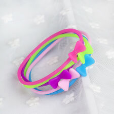 5pcs Lovely Silicone Rubber Bow Hair Elastic Hairbands Bangle Bracelets